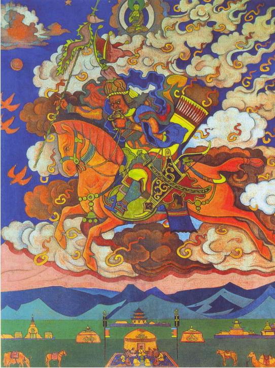 Н.К.Рерих. Ригден-Джапо — Владыка Шамбалы (Великий Всадник, Грядущее.). 1927. Государственный Музей изобразительных искусств им. Дзанабадзара. Улаан-Батор, Монголия