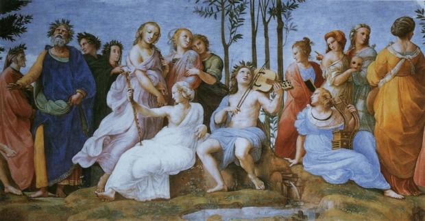 """Аполлон и музы. Фрагмент фрески Рафаэля Санти """"Парнас"""". 1508-1511 гг."""