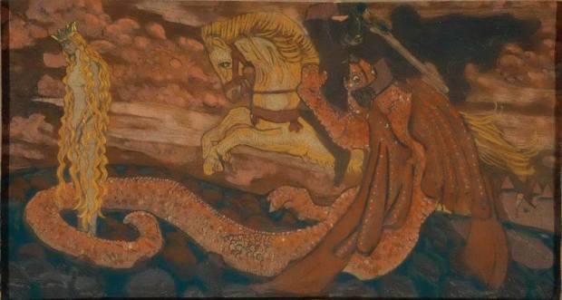 Змиевна. Н. К. Рерих. На картине показан Путь Борьбы и Победы над астралом, трансмутации низших качеств в высшие.