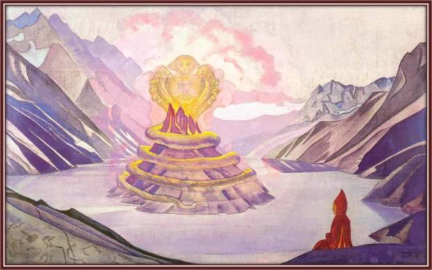 Нагарджуна – победитель Змия, 1925 г. Музей им. Н.К. Рериха, Москва, Россия