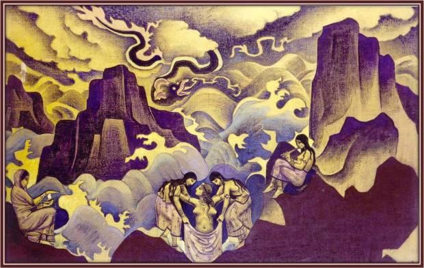 Змий древний, (Рождение Мистерий), 1924 г. Музей им. Н.К. Рериха, Москва, Россия