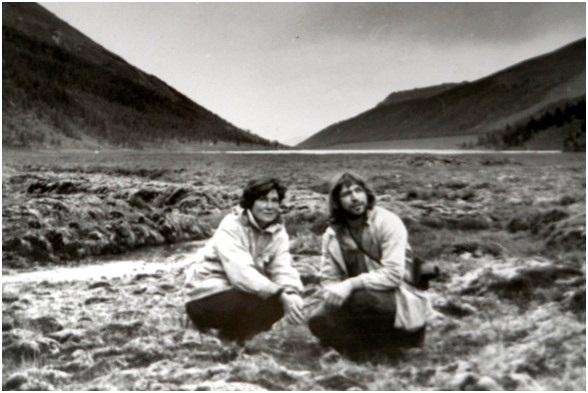 На пути к Белухе. Г.Ядревская и В.Петров. 1982г.