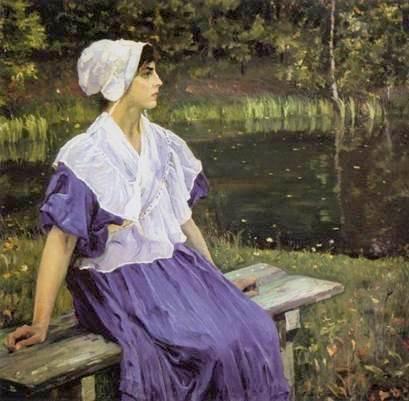 М.В.Нестеров. Девушка у пруда. 1923