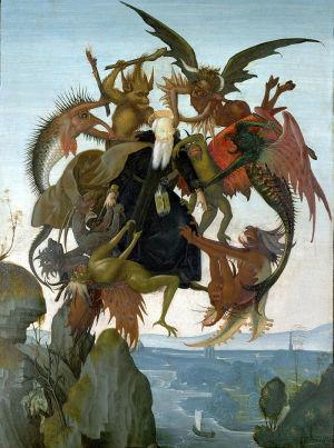 Терзания святого Антония. 1487—1489.  Художественный музей Кимбелла, Форт-Уорт, Техас