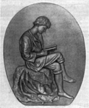 Юноша Ломоносов за книгой. Барельеф работы скульптора П.П.Забелло, 1892 г.