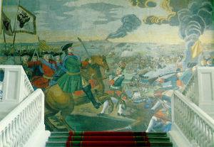 «Полтавская баталия». Мозаика М. В. Ломоносова в здании Академии Наук. Санкт-Петербург. 1762—1764