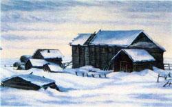 Деревня, в которой родился Ломоносов. Порисунку XIX в.