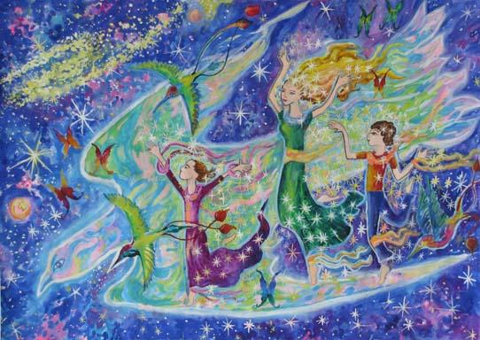 Рис. Любы Романовой, 10 лет, «На крыльях космической радости»