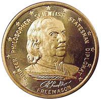 Памятная медаль из бронзы, посвященная Франклину - издателю, философу, ученому, политику, дипломату, выпущенная филадельфийскими масонами