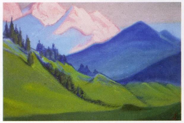 Н.К.Рерих. Гималаи (Зелёные склоны и вечные снега). 1943