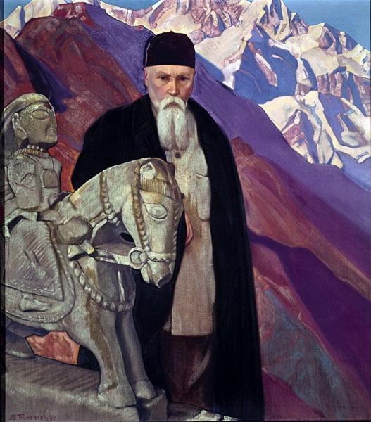 С.Н.Рерих. Портрет профессора Николая Рериха со скульптурой Гуга Чохана. 1937