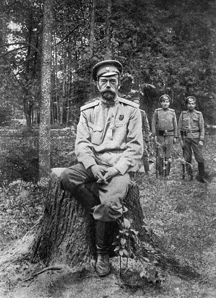 Николай II незадолго до перевода в Екатеринбург на прогулке с караулом