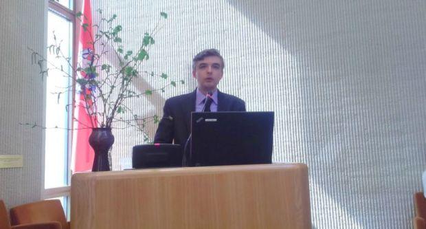 Выступает ответственный секретарь Местного благотворительного фонда «Наследие М.К. Огинского» Павел Сапотько