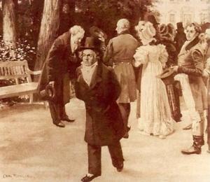 Однажды Бетховен и Гёте, гуляя, встретили императрицу. Гёте, отойдя в сторону, склонился в глубоком поклоне, Бетховен прошел сквозь толпу придворных, едва притронувшись к шляпе