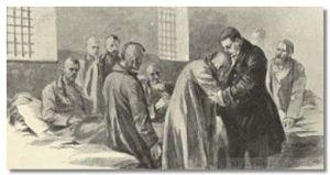 Доктор Гааз в тюремной больнице утешает арестованного