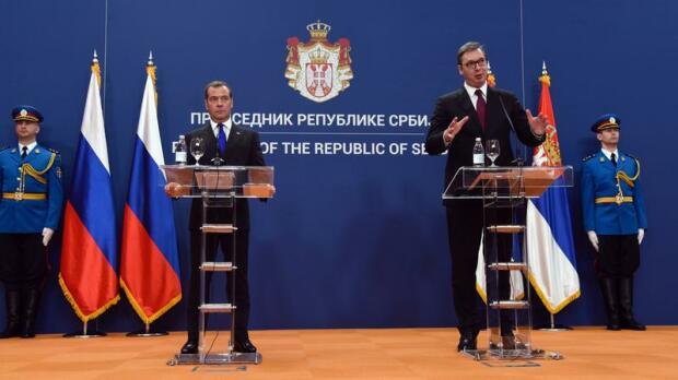 Дмитрий Медведев, Александр Вучич/ Фото: Predrag Milosavljevic/ globallookpress.com