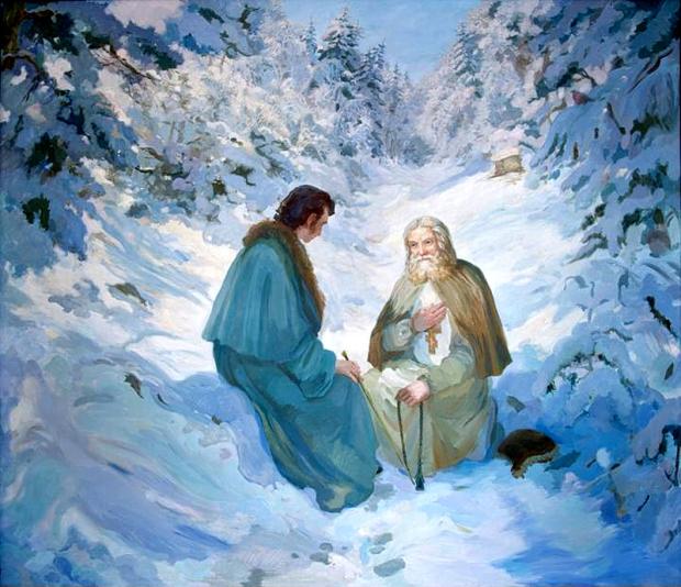 Это было в четверток. День был пасмурный. Снегу было на четверть на земле, а сверху порошила довольно густая снежная крупа, когда батюшка отец Серафим начал беседу со мной...