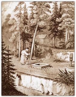 Преподобный Серафим в ближней пустыньке у своего колодца