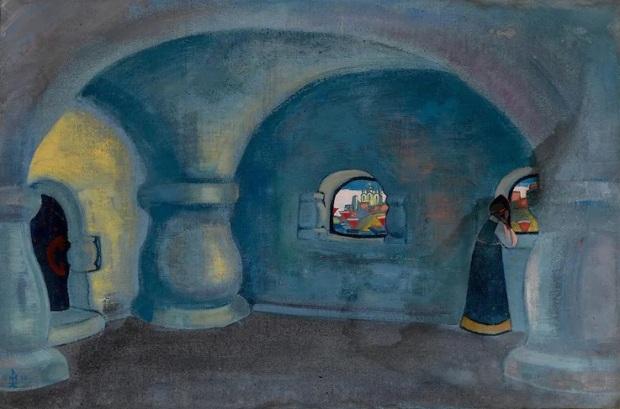Репродукция эскиза декораций к опере «Садко» Николая Рериха