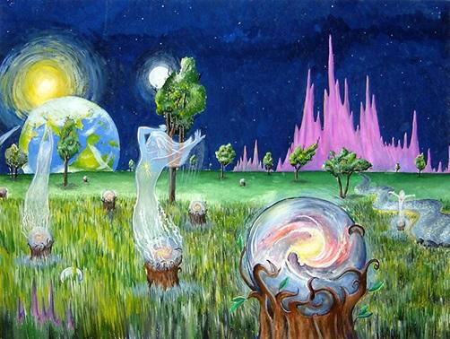 Рисунок Таи Мирошниченко, 16 лет, «Где рождаются души»